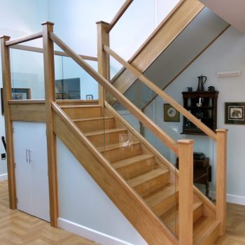 Modern Oak and Glass Staircase